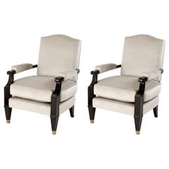 Matched Pair of Ebonized Wood Armchairs by Jean Pascaud