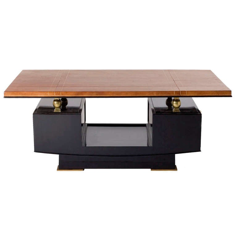 fine leather top art deco coffee table by maxime old at 1stdibs