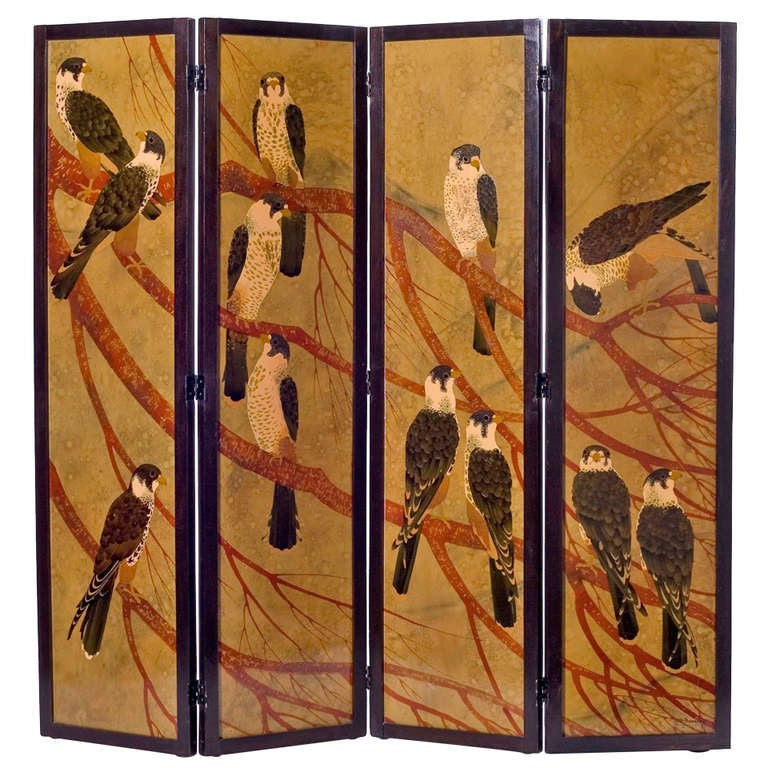 André Ducaroy, Rare Four-Panel Lacquered Screen, France, C. 1945 For Sale