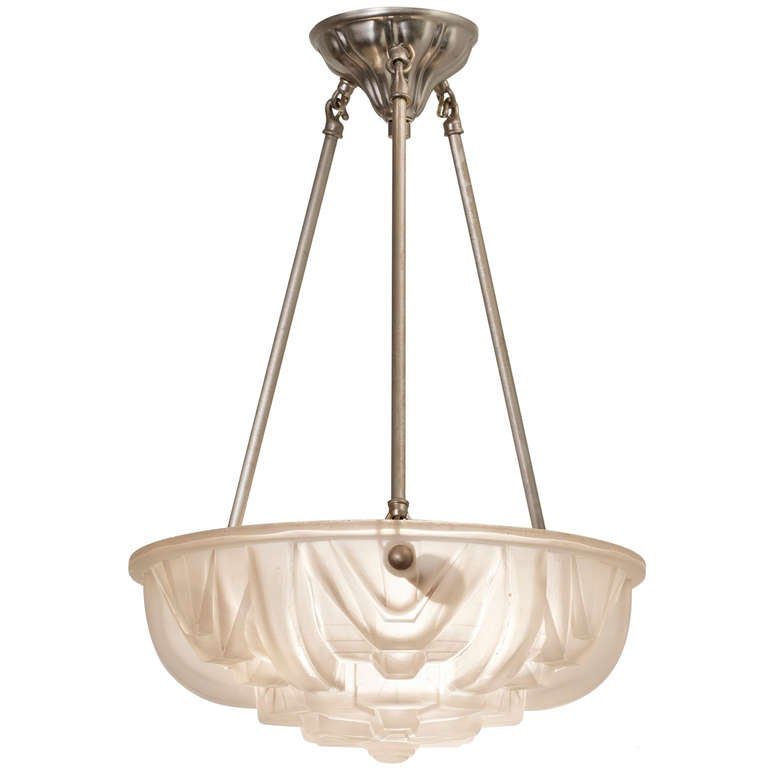 Art deco molded glass ceiling light fixture at 1stdibs Artisan glass pendant lights