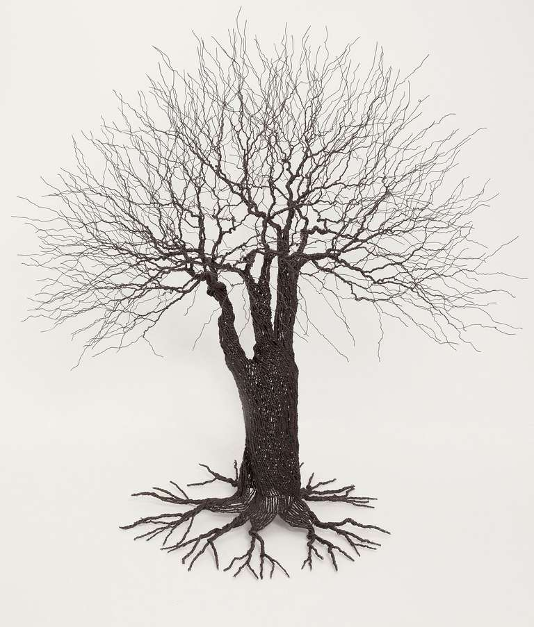 Sculpture of a tree, made of metal wire