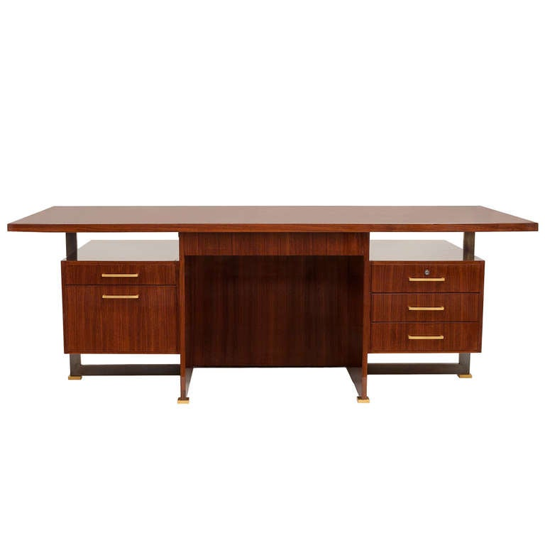 Maison Leleu, Mahogany Conference Desk with Extension, France, 1966