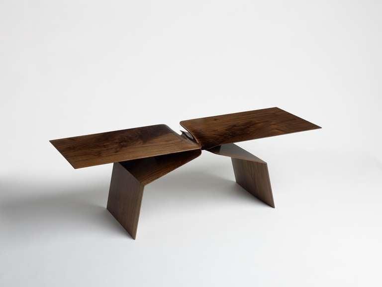 Minimalist Carol Egan, Sculptural Hand-Carved Walnut Coffee Table, USA, 2013 For Sale