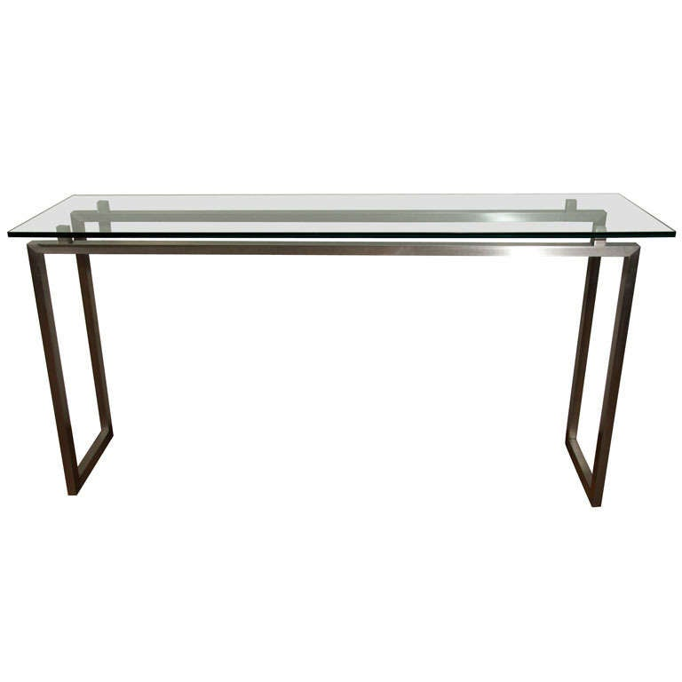 Brushed metal console table with glass top at 1stdibs for Metal console tables glass top