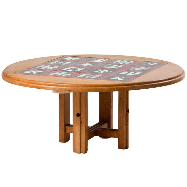 Ladislas Oak And Ceramic Tile Coffee Table By Robert Guillerme For Sale At 1stdibs