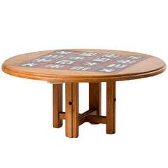 """Ladislas"" Oak and Ceramic Tile Coffee Table by Robert Guillerme"