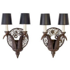 Marcel Bergue, Pair of Wrought-Iron Sconces, France, circa 1925