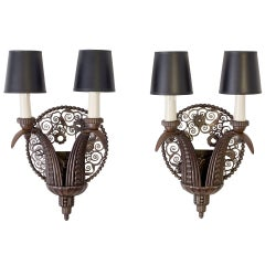 Marcel Bergue, Pair of Wrought-Iron Sconces, France, C. 1925