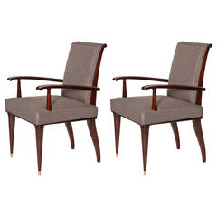 Pair of Mahogany Armchairs by Raphaël