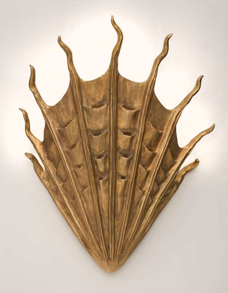 Contemporary patinated bronze sconce by Marc Bankowsky.  Bulb: Two candelabra bulbs Wattage: 60 each (maximum).