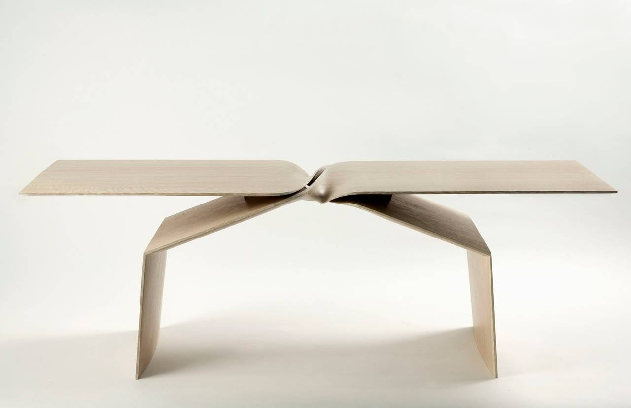 Contemporary hand-carved limed oak coffee table by Carol Egan.