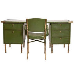 Rare Green Leather Desk and Chair by Jacques Adnet