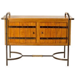 Rare Two Door Oak Cabinet by Jacques Adnet
