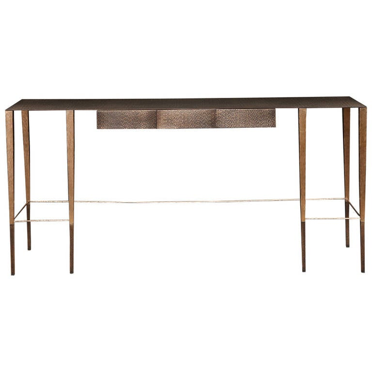 Singha contemporary bronze console with drawers by - Contemporary console tables with drawers ...