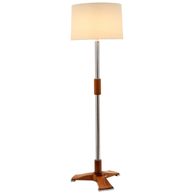 Jules Leleu, Art Deco Tripod Floor Lamp in Chrome and Walnut, France, C. 1932 For Sale