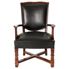 Jules Leleu, Mahogany and Leather Visitor Armchair, France, C. 1945