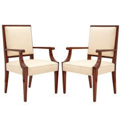 Mahogany Armchairs, France, C. 1940