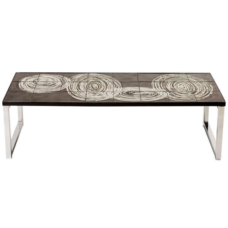 French Ceramic Tile Top Coffee Table On Chrome Base At 1stdibs