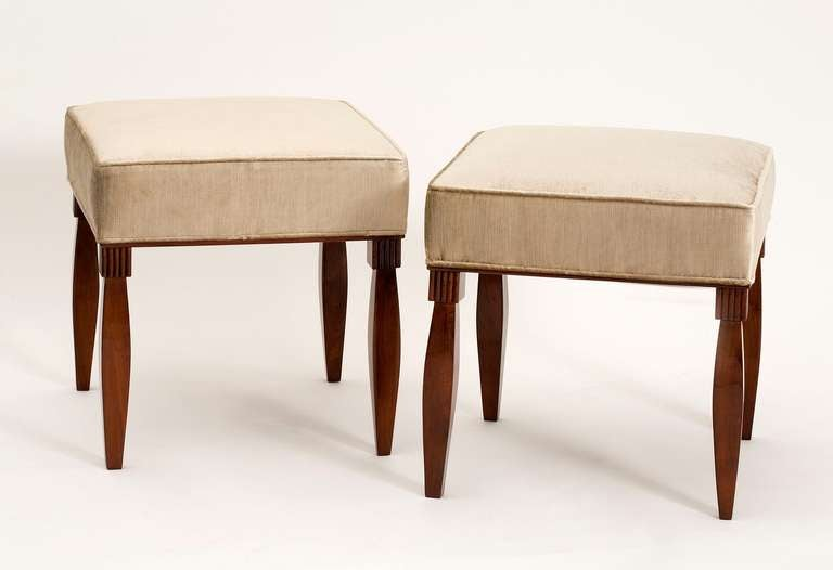 Set Of Four Mahogany Stools In The Manner Se Et Mare