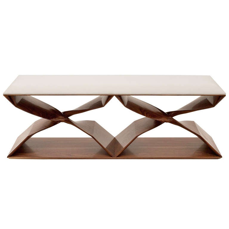 Carol Egan, Hand-Carved Walnut Bench, USA, 2013 For Sale