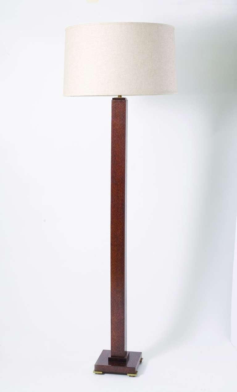 Polished oak art deco floor lamp by christian krass at 1stdibs for Floor standing art deco lamp
