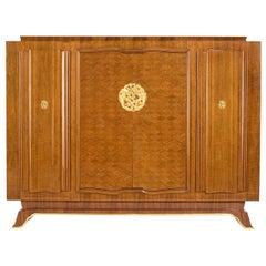 Jules Leleu, Art Deco Walnut Cabinet, France, C. 1944