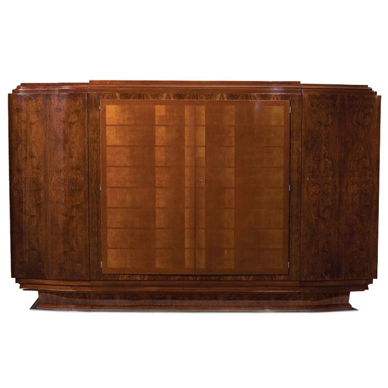 Jules Leleu, Large Lacquered Walnut Cabinet, France, 1933 For Sale