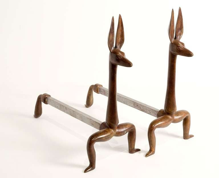 Pair of bronze andirons by Marc Bankowsky.