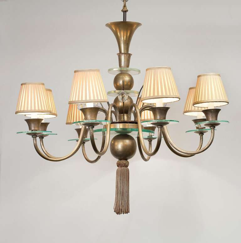 Art Deco eight-arm chandelier in two-toned metal and glass, with its original tassel.