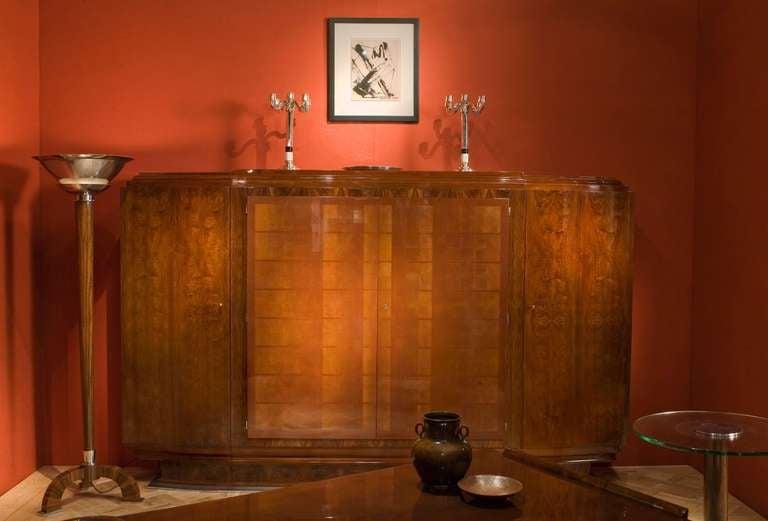 Art Deco Jules Leleu, Large Lacquered Walnut Cabinet, France, 1933 For Sale