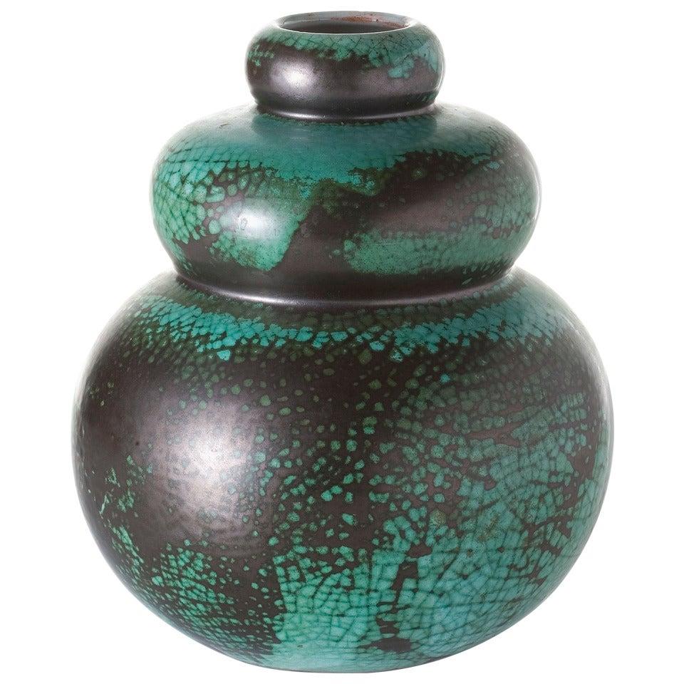 Primavera, Green Gourd Shaped Ceramic Vase, France, C. 1920