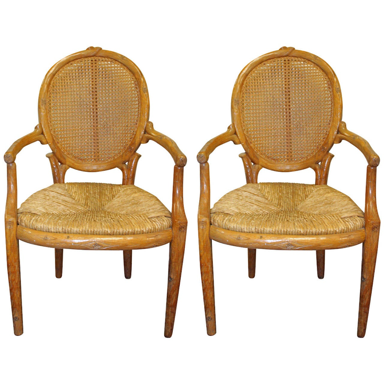 Pair of italian carved faux bois dining chairs at 1stdibs for Chair in italian