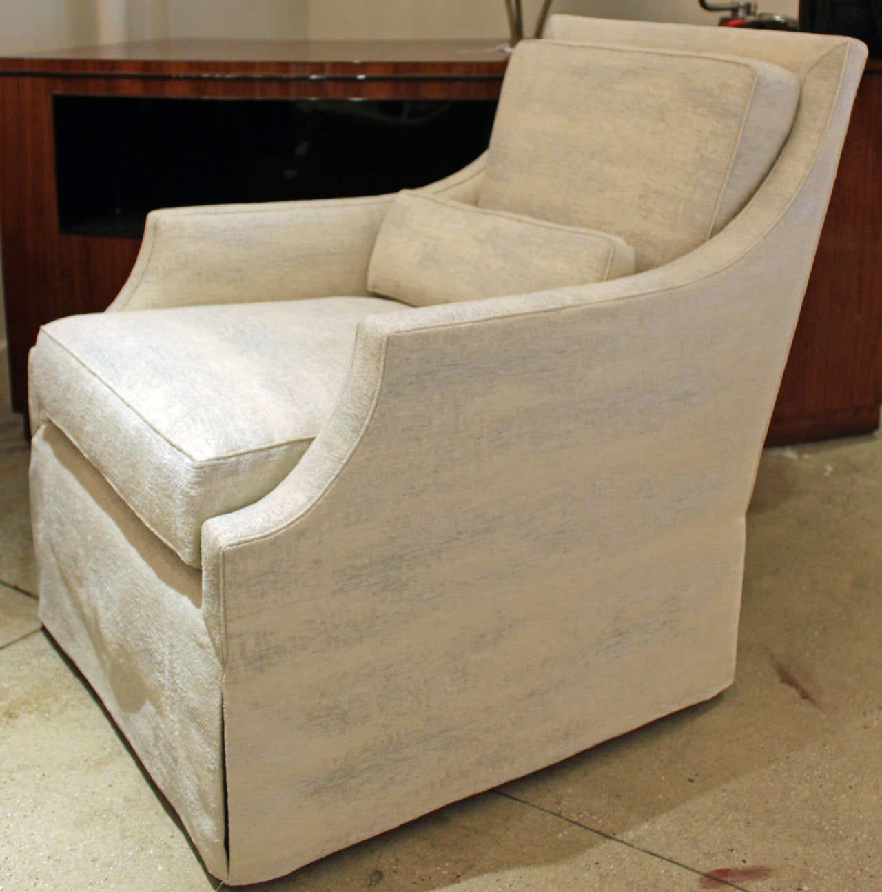 Elegant and comfortable club chair newly reupholstered at 1stdibs