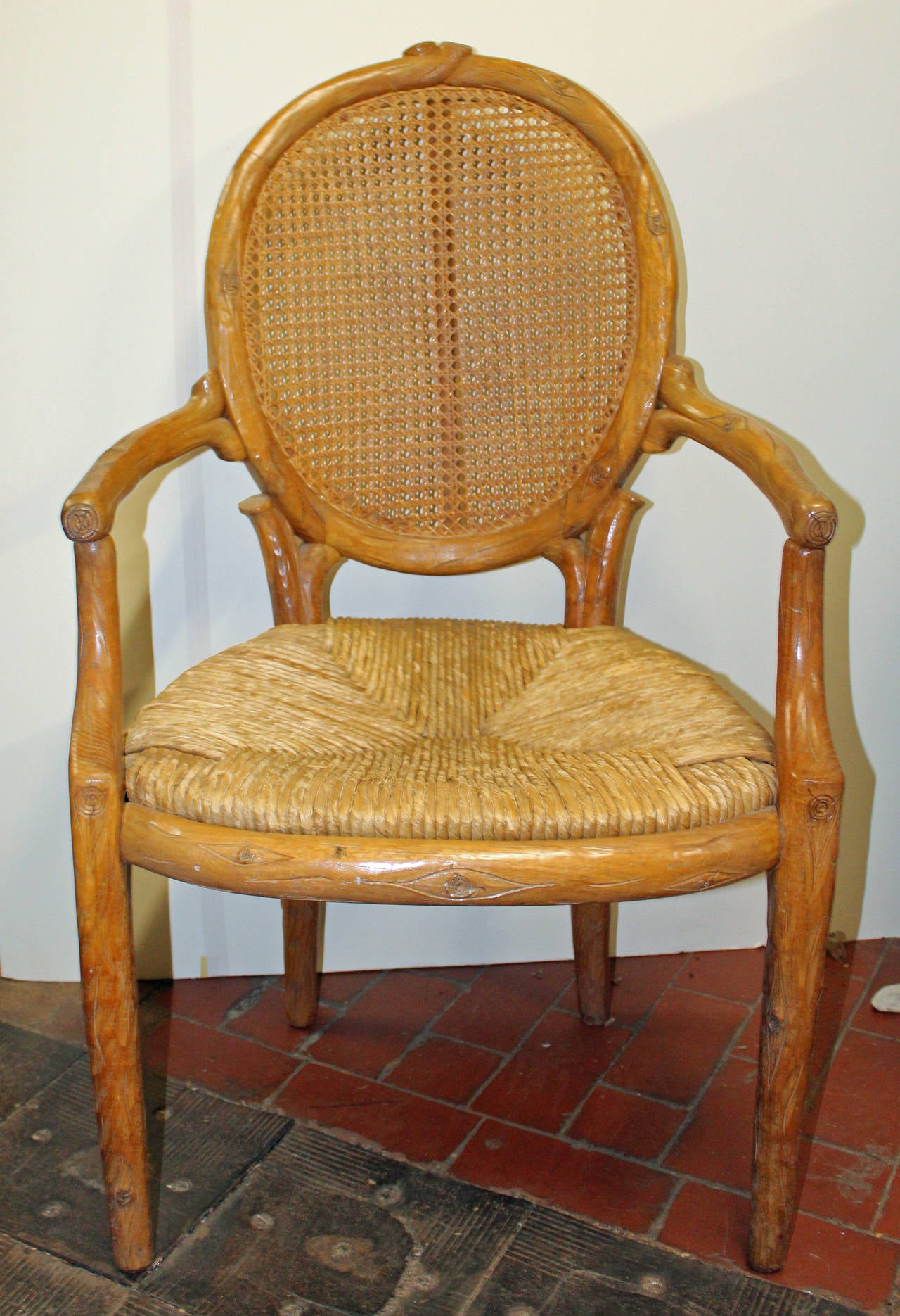 Pair of Italian Carved Faux Bois Dining Chairs at 1stdibs