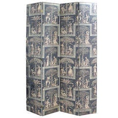 Large Four Panel Folding Screen in a Pompeian Motif Fabric