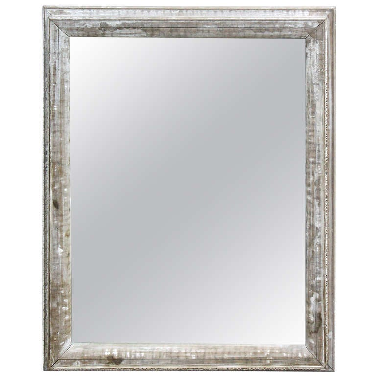 Large antique distressed wood framed mirror at 1stdibs for Large framed mirrors for sale