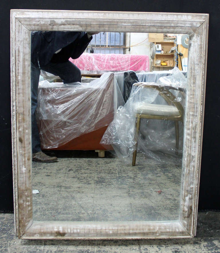 American Large Antique Distressed Wood Framed Mirror For