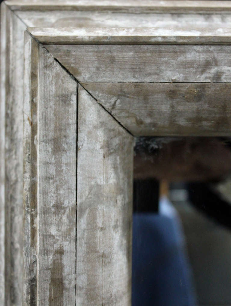 Large antique distressed wood framed mirror at 1stdibs Large wooden mirrors for sale