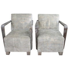 pair of 1940's petite side chairs w/cerused Oak finshes