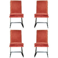 Set Of 4 Chrome Milo Baughman Dining Chairs
