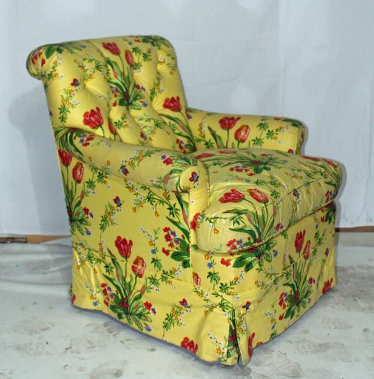 British Very Comfortable Custom Club In A Vibrant Floral Chintz For Sale