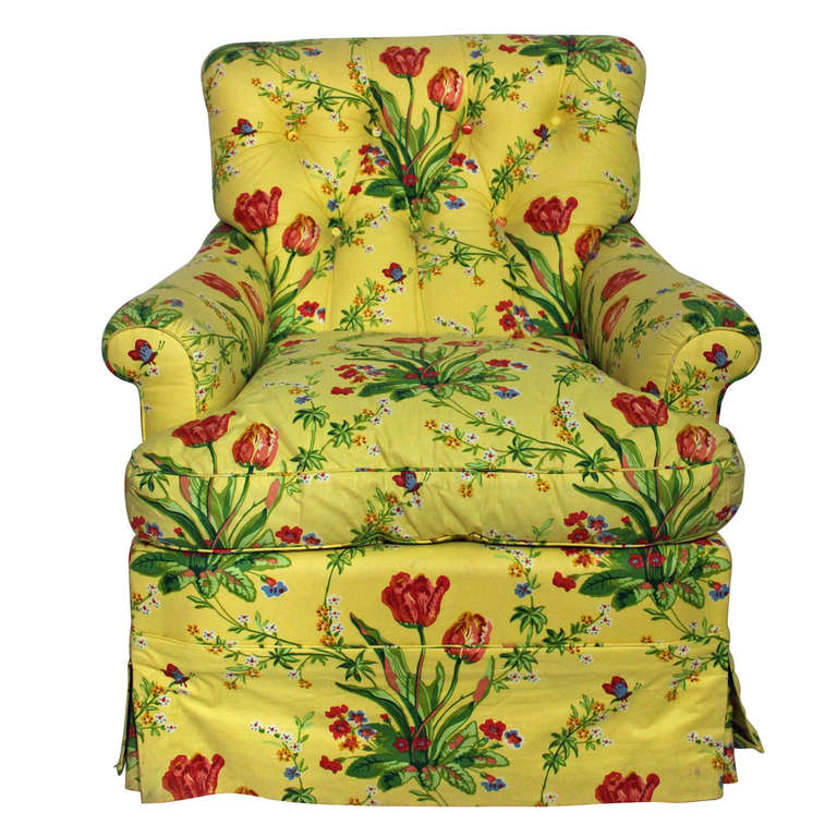 Very Comfortable Custom Club In A Vibrant Floral Chintz For Sale