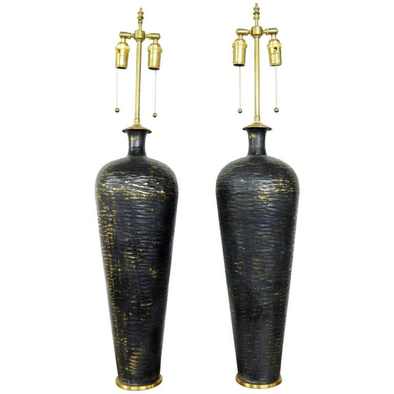 Large Pair Of Textured Gold And Graphite Metal Vases With Lamp