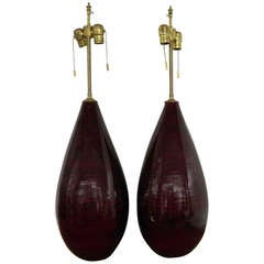 """Unique Pair of Deep Aubergine """"Tear Shaped"""" Gourd Vases with Lamp Application"""