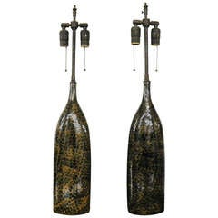 Unusual Pair Of Camel & Black Ceramic Vessels With Lamp Application