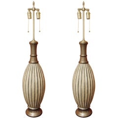 Pair of fluted vintage cream & bronze vases with lamp application