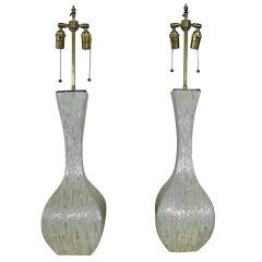 Pair Of Iridescent Textured Vases With Lamp Application