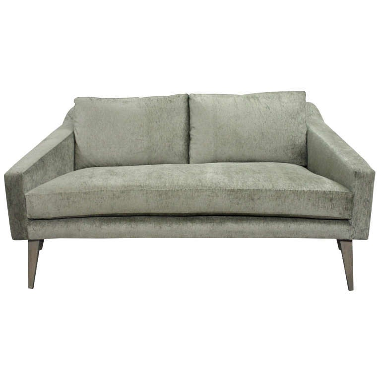Ponti Inspired Loveseat In A Rich Sage Velvet With Matching Tapered Legs At 1stdibs