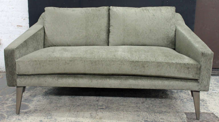 Ponti Inspired Loveseat In A Rich Sage Velvet With