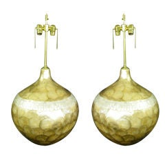 Pair of  Glazed Mica over-sized lamps.